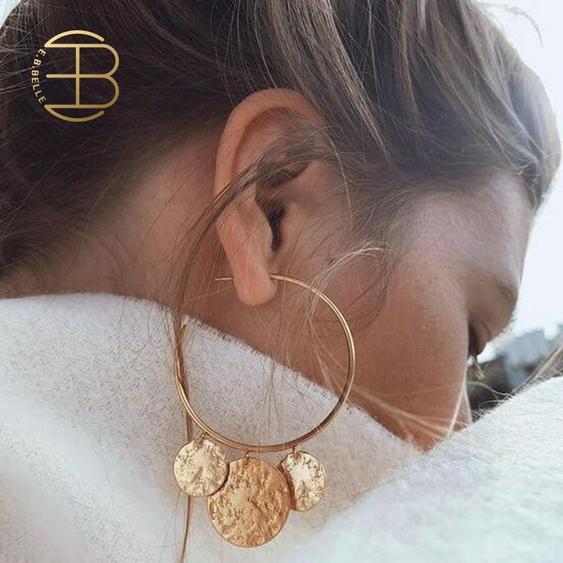 2019 New Fashion Bohemian Gold Silver Color Big Hoop Earrings With Round Sequins Charm Vintage C Shaped Big Hoop Earring