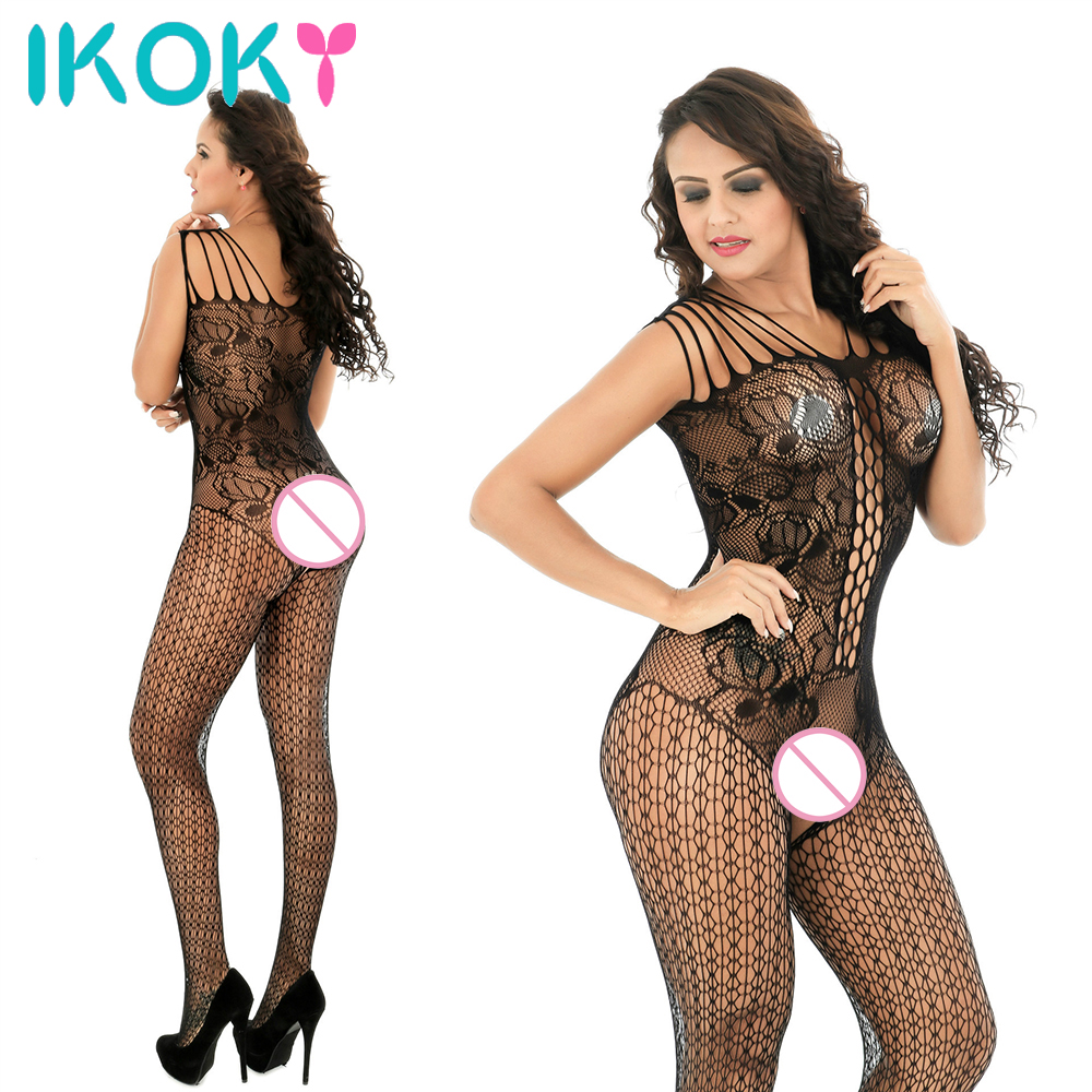 IKOKY Sexy Lingerie Porno Sleepwear Fishnet Hollow One-piece Body Stocking Open Crotch Pantyhose Catsuit Exotic Apparel