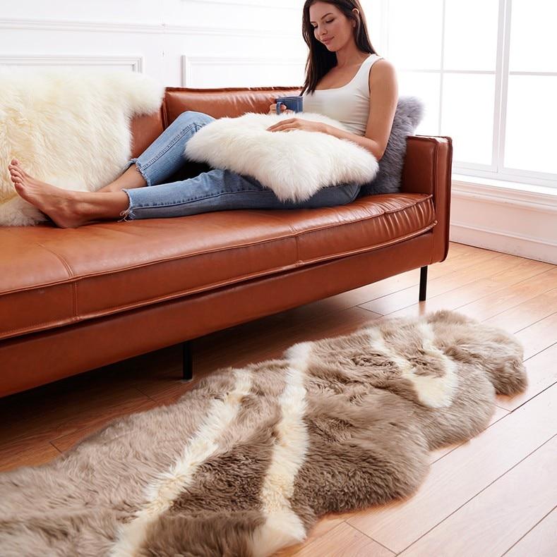 Tapis poilus de luxe tapis en peau de mouton australien naturel couverture de chaise tapis de chambre laine chaude tapis poilu siège Textil tapis de zone de fourrure