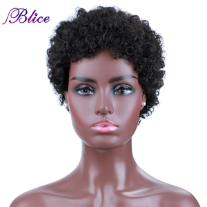 Blice Short Afro Curly Synthetic Hair Wigs For Women Machine Made Breathe Freely Wig With Kanekalon Fiber
