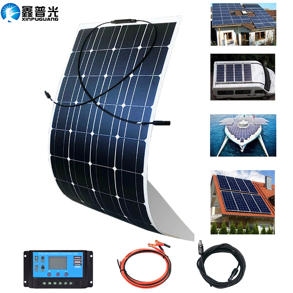 flexible portable <font><b>Solar</b></font> <font><b>panel</b></font> 100w <font><b>200w</b></font> 12V battery charger home kit Mono for travel camping pv RV car boat 1000w system china image