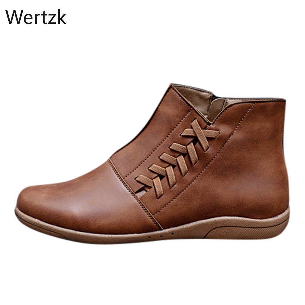 Kadın PU deri yarım çizmeler kadın sonbahar kış çapraz Strappy kar botları serseri çizmeler düz topuk ayakkabı kadın Botas Mujer A722
