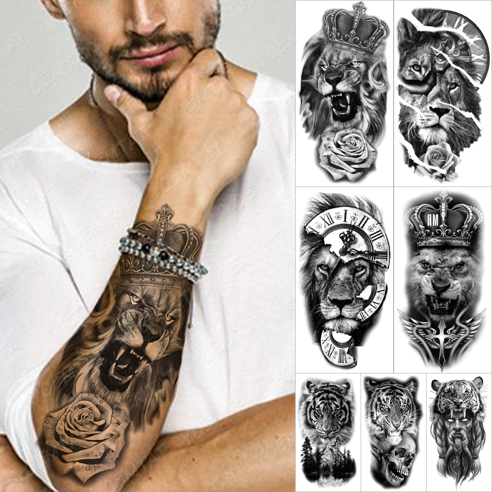 Wasserdicht Temporäre Tätowierung Aufkleber Wald Lion Tiger Bär Flash-Tattoos Frauen Leopard Wolf Crown Körper Kunst Arm Gefälschte Tatoo Männer