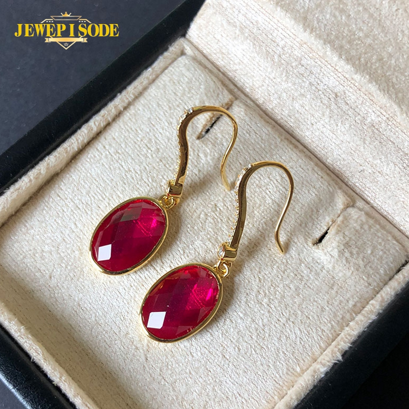 Jewepisode 18K Yellow Gold Color Earrings Fashion Jewelry 7x11MM Ruby Gemstone Drop Earrings Wholesale Wedding party Gift
