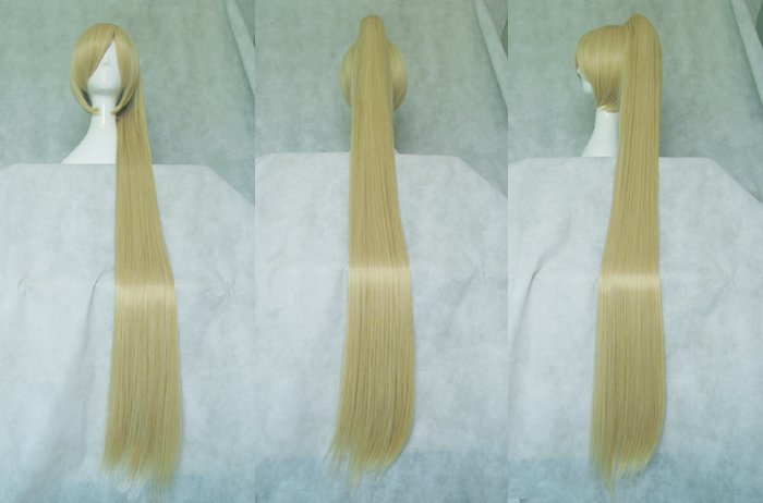 Vocaloid Akita Neru Cosplay Wigs High-temperature Fiber Synthetic Hair Golden Hair With Single Ponytail +free Hair Cap