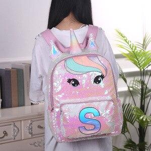 Image 2 - Cekiny jednorożec torby szkolne o dużej pojemności jednorożec plecaki dla dziewcząt różowy Mochila Escolar plecak dla dzieci torby szkolne dla dzieci