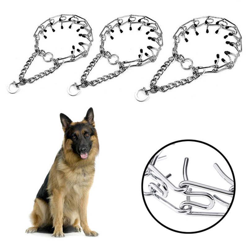 1 個ペット犬チェーントレーニング襟プロングチョーカー首輪ペットの鉄金属チョークネック首輪トレーニングツール用品