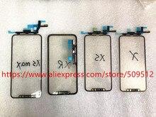 1 pièces écran tactile dorigine panneau de verre extérieur avant avec câble flexible + OCA pour iPhone X XS XS Max XR 11 11Pro max pièces de rechange