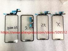 1 sztuk oryginalny ekran dotykowy przedni zewnętrzny Panel szklany z Flex Cable + OCA dla iPhone X XS XS Max XR 11 11Pro max części zamienne