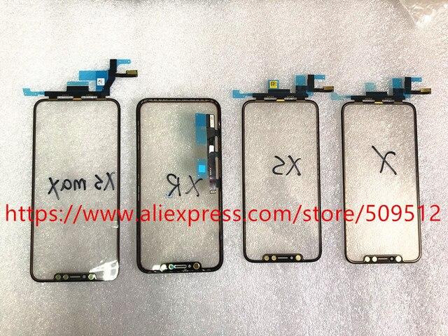 Pannello di vetro esterno anteriore Touch Screen originale 1pcs con cavo flessibile + OCA per iPhone X XS XS Max XR 11 11Pro max parti di ricambio
