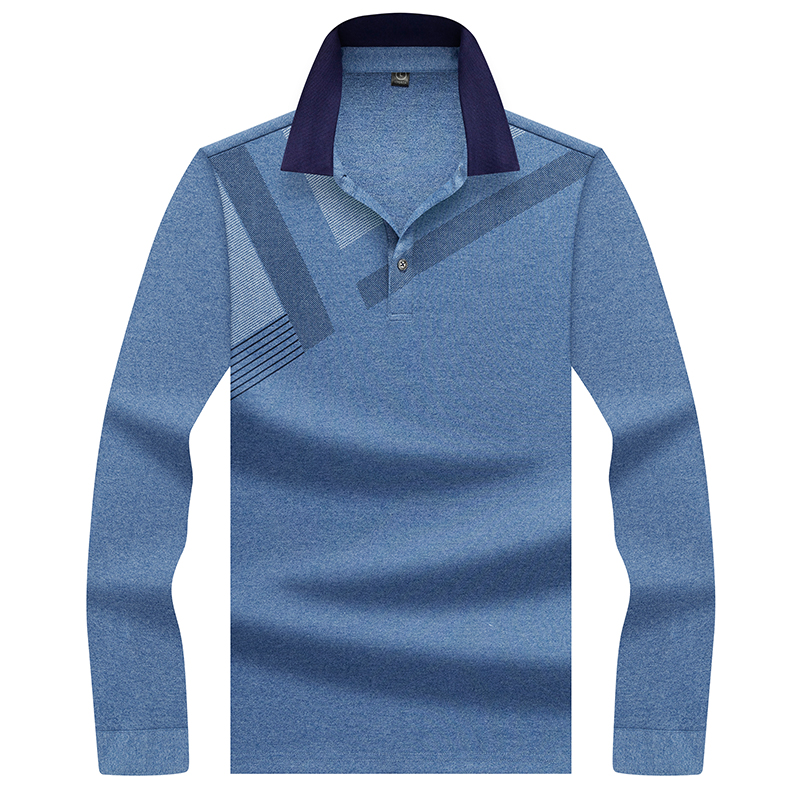 Hollirtiger Blue Men Shirt   Polo   Tennis   Polo   Shirt Long Sleeves Stretch Button Cuffs Men's   Polo   Pullover Turn-Down Collar Tees