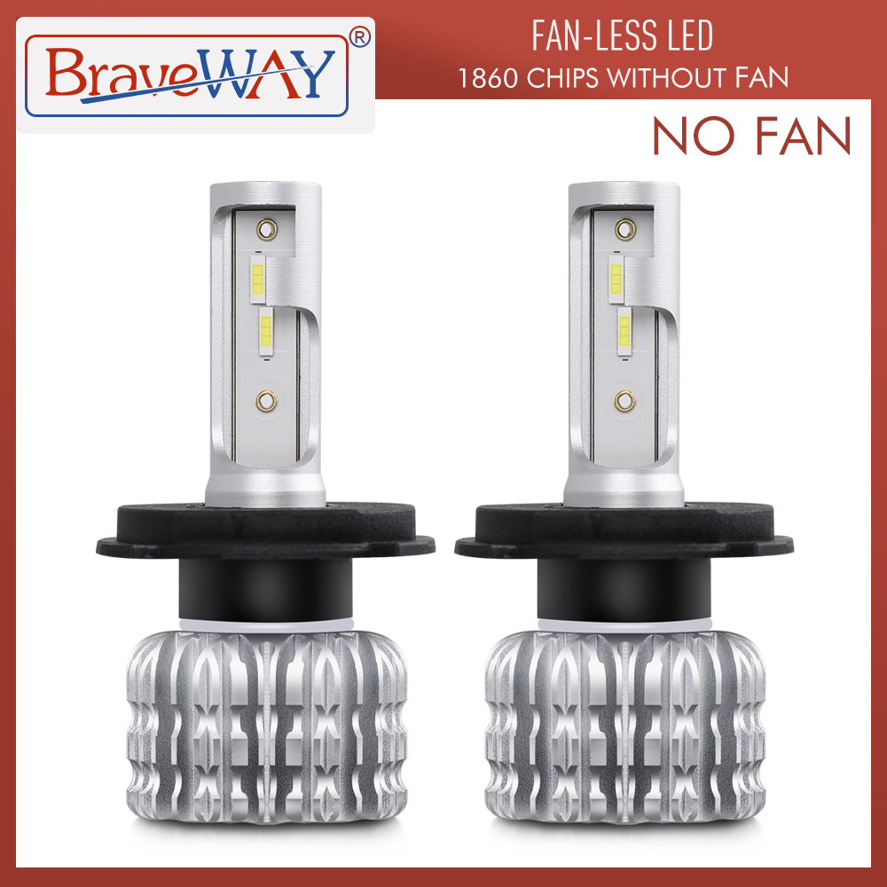 BraveWay 2PCS 6500K Fanless LED Car Bulb H1 H4 H7 H8 H11 9005 9006 HB3 BH4 Auto Lamps 12V LEDs Fog Lights LED Car Headlight Kit