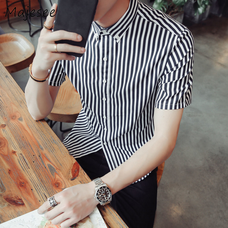 Men Shirts Male Short-sleeved Mens Shirt Breathable Striped Slim Summer Korean Style Trendy School Students Fashion New 5 Colors