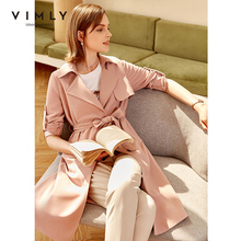Vimly Autumn Women's Trench Coat Fashion Turn Down Collar Solid Double Breasted with Belt Pocket Long Jackets Female F0629