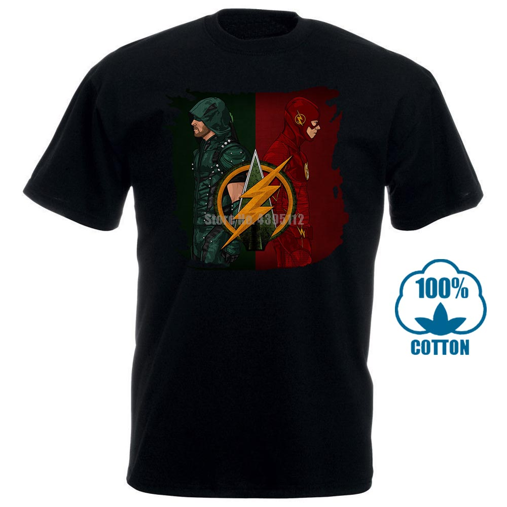 Men T Shirt S Green Arrow Vs Flash Short Sleeve Black Funny T-Shirt Novelty Tshirt Women
