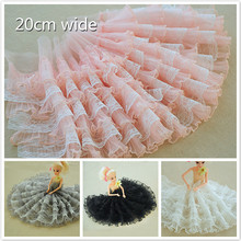 20cm Wide Multi-layer Organ Pleated Mesh Lace Fabric DIY Clothes Skirt Wedding Fast Sewing Toy Doll Dress Decoration Accessories