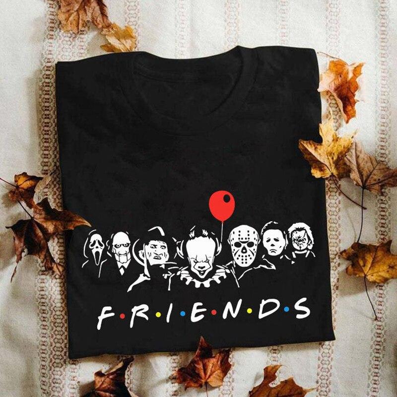 Друзей ужас красочные и страшные женщины футболка Wicca, в готическом стиле, графические футболки Harajuku/одежда в готическом стиле 90-х для фотос...