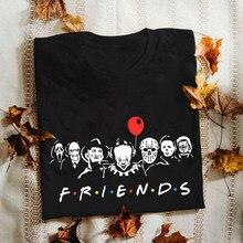 Amigos horror colorido e assustador mulher t camisa wicca gótico gráfico t-shirts harajuku goth roupas 90s grunge escuro edgy topos