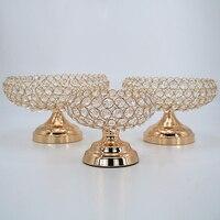 Europa gold runde kristall obst platte candy platte ornamente hause wohnzimmer büro desktop dekoration dekoration handwerk