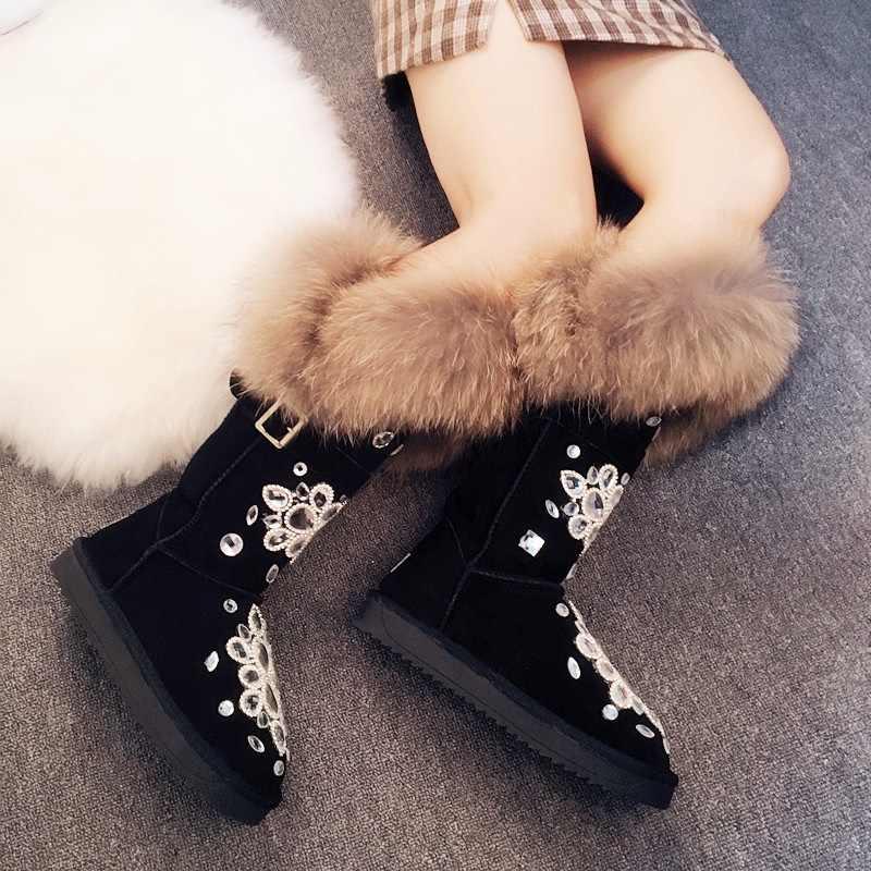 ผู้หญิงฤดูหนาวหิมะรองเท้า Fox Fur Warm Plush รองเท้าผู้หญิง 2019 Bling คริสตัล Rhinestone Snowboots เข่าสูงรองเท้าบูทฤดูหนาวรองเท้า