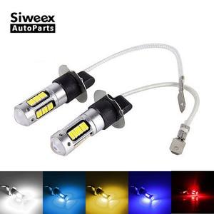Image 1 - 2Pcs H3 H1 W5W T10 화이트 4014 칩 30 SMD 높은 전원 LED 안개 빛 헤드 라이트 램프 전구 렌즈 DC 12V