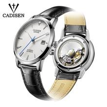 CADISEN relojes para hombre, automático, Reloj de pulsera mecánico, 9015 MIYOTA, de lujo, con Diamante Real, curvo, de cristal de zafiro
