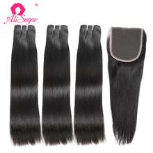 Ali Sugar Virgin Hair malezyjski Silky Straight 3 zestawy z zamknięciem 4*4 koronkowe naturalne kolory m-ratio surowe doczepy z ludzkich włosów tanie tanio Silky prosty = 15 NONE Wszystkie kolory 3 sztuk wątek i 1 pc zamknięcia Malezja włosów