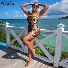Hugcitar 2019 leopard print slash neck sleeveless tube slip mini dress