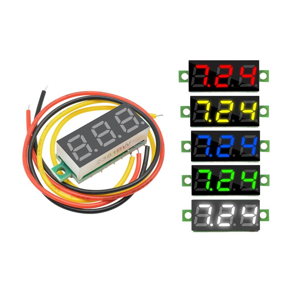 0.28 Inch DC 0-100V LED Digital Voltmeter Voltage Meter Auto Car Mobile Power Voltage Tester Detector 12V Red Green Blue Yellow