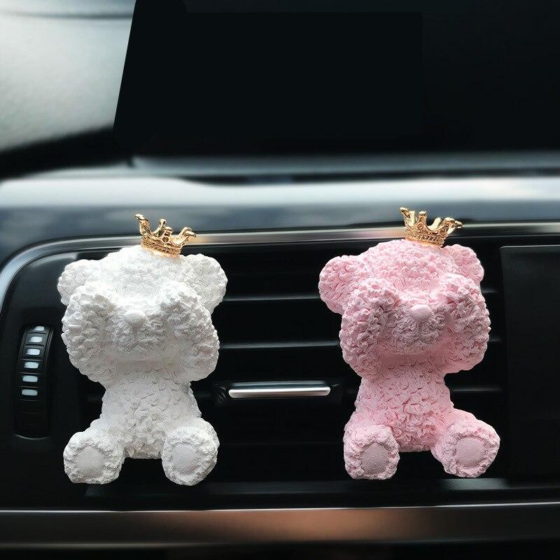 Car Fragrance Air Conditioning Outlet Perfume Clip Freshener Cute Bear Decor Creative Ornaments Diffuser