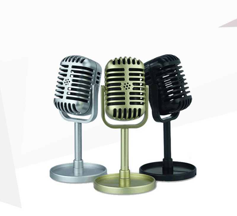 Classic Retro Microphone Prop Vintage Style Mic Universal Stand Compatible Live Performance Karaoke Studio Recording Prop