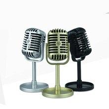 Micrófono clásico Retro Prop Estilo Vintage Mic soporte Universal Compatible con grabación de estudio de Karaoke de rendimiento en vivo Prop