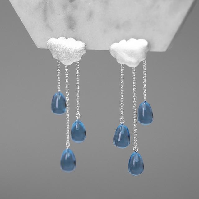 INATURE 925 Sterling Silber Fashion Wolke Form Blau Kristall Quaste Drop Ohrringe für Frauen Schmuck