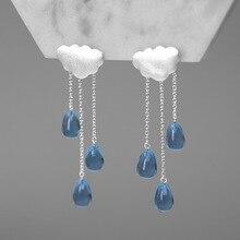 Inature 925 prata esterlina moda nuvem forma azul cristal borla gota brincos para jóias femininas