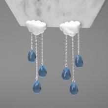 Pendientes de plata de ley 925 a la moda con forma de nube y borlas de cristal azul para mujer