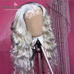 Парик из натуральных волос, 13х6, цвет серебристый, серый, 99J