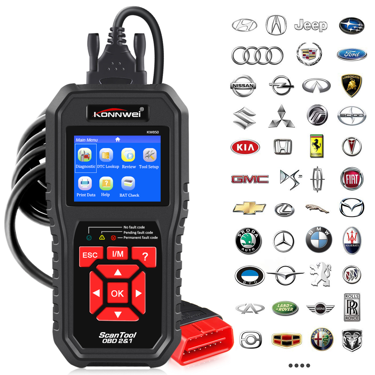 KONNWEI KW850 OBD2 Scanner de Diagnostic automatique universel OBD voiture outil de Diagnostic ODB2 vérifier moteur automobile lecteur de Code de voiture noir