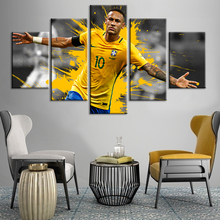 Brazil Football Stars Neymar Posters 5 Pieces Wall Canvas Paintings Sports Fans Art Kids Room Home Decor Framework