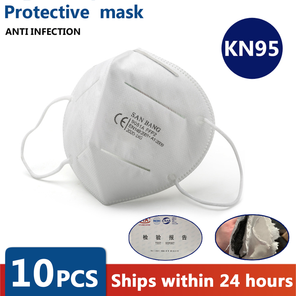 5/10PCS N95 Mask CE Non-woven Anti Flu AntiInfection Masks Particulate Respirator PM2.5 Same Protective As KF94 FFP2 FFP3