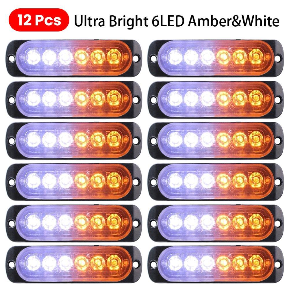 12x Ultra-slim Strobe 6LED Light Universal LED 12/24v Truck Lights Car White Amber Emergency Hazard Flashing Warning Light Lamp