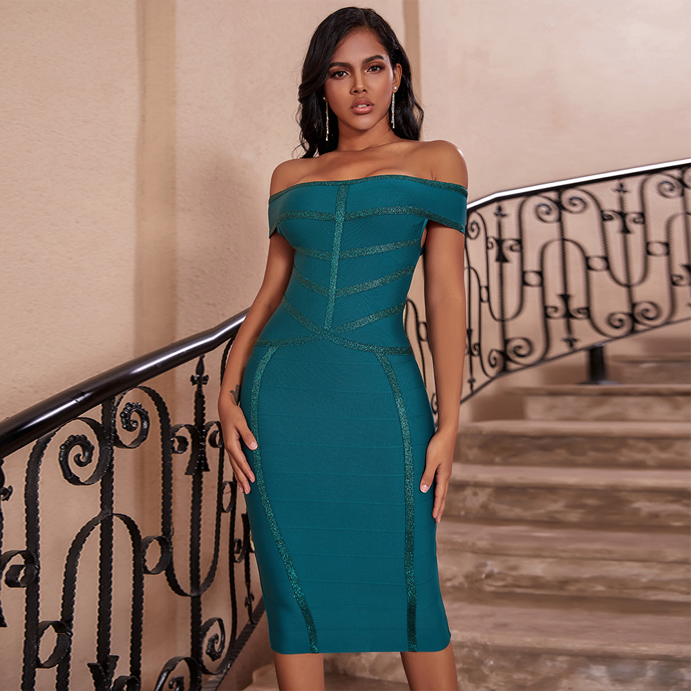 Ocstrade Vestido Bandage 2020 New Arrival Green Sexy Off The Shoulder Bandage Dress Bodycon Celebrity Club Evening Party Dress