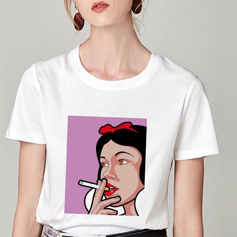 Summer Tshirt Snow White Fun Fashion Printed T-shirt Spoof Personality Harajuku Funny Casual Thin Section T Shirt Women Clothing 20