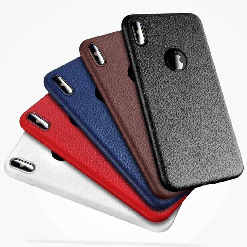 Mewah Leather Phone Case For Apple Iphone X XR X MAX 8 7 6 6S PLUS Soft TPU Kembali cover Fundas Coque