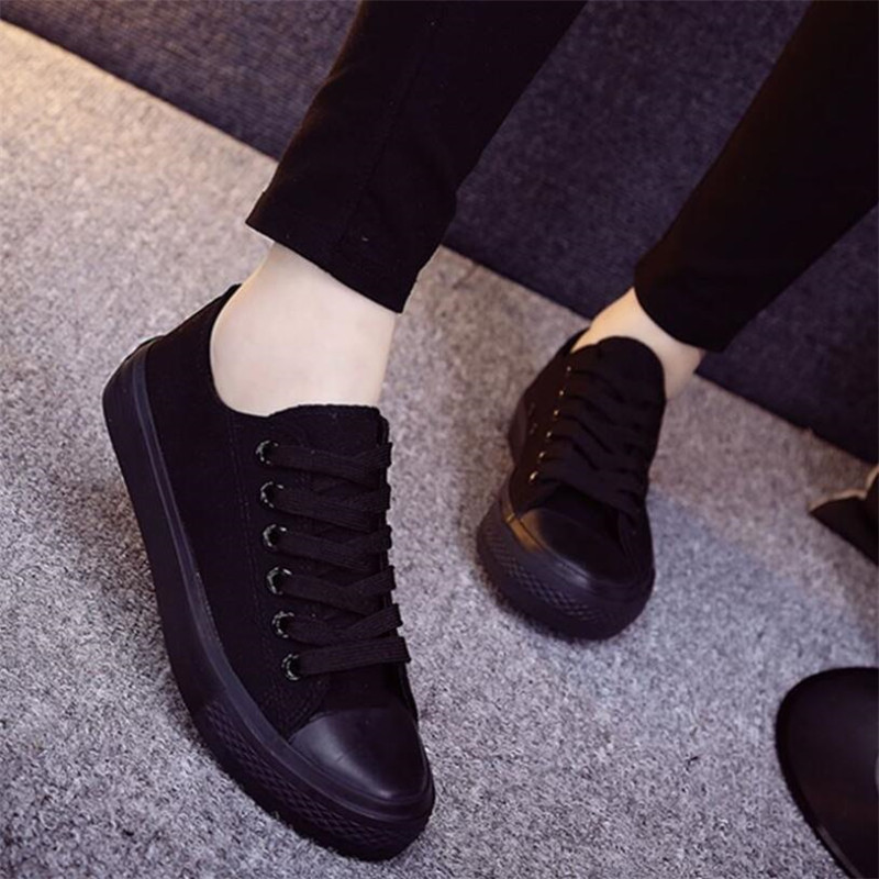 New Popular Spring Black Canvas Women's Shoes Simple Fashion Movement Couple Models Shoes Comfortable Breathable Men's Sneakers