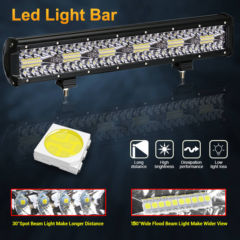 ANMINGPU 4-20inch Combo LED Light Bar Off Road 12V 24V LED Bar Work Light for Car Jeep Truck Suv 4x4 Tractor Boat Atv Headlight