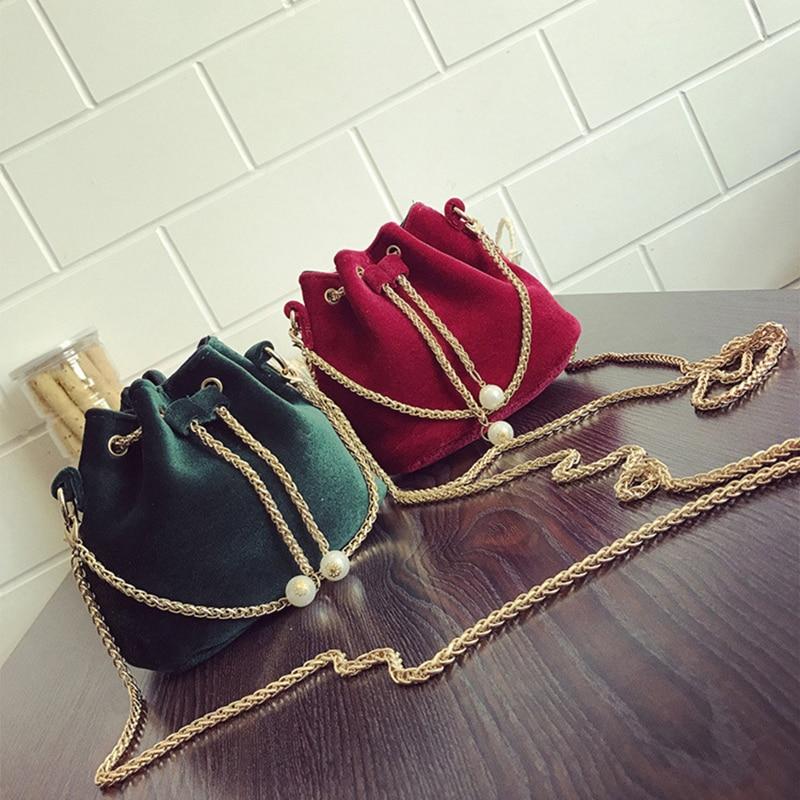 Fashion Women Quality Bucket Bag Female High Capacity Shoulder Wool Flannel Designer String Crossbody  Handbags Versatile