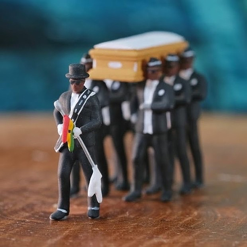 4 Inches Cosplay Ghana Dancing Pallbearers Coffin Dance Figure Action Funeral Dancing Team Display Funny Accessories