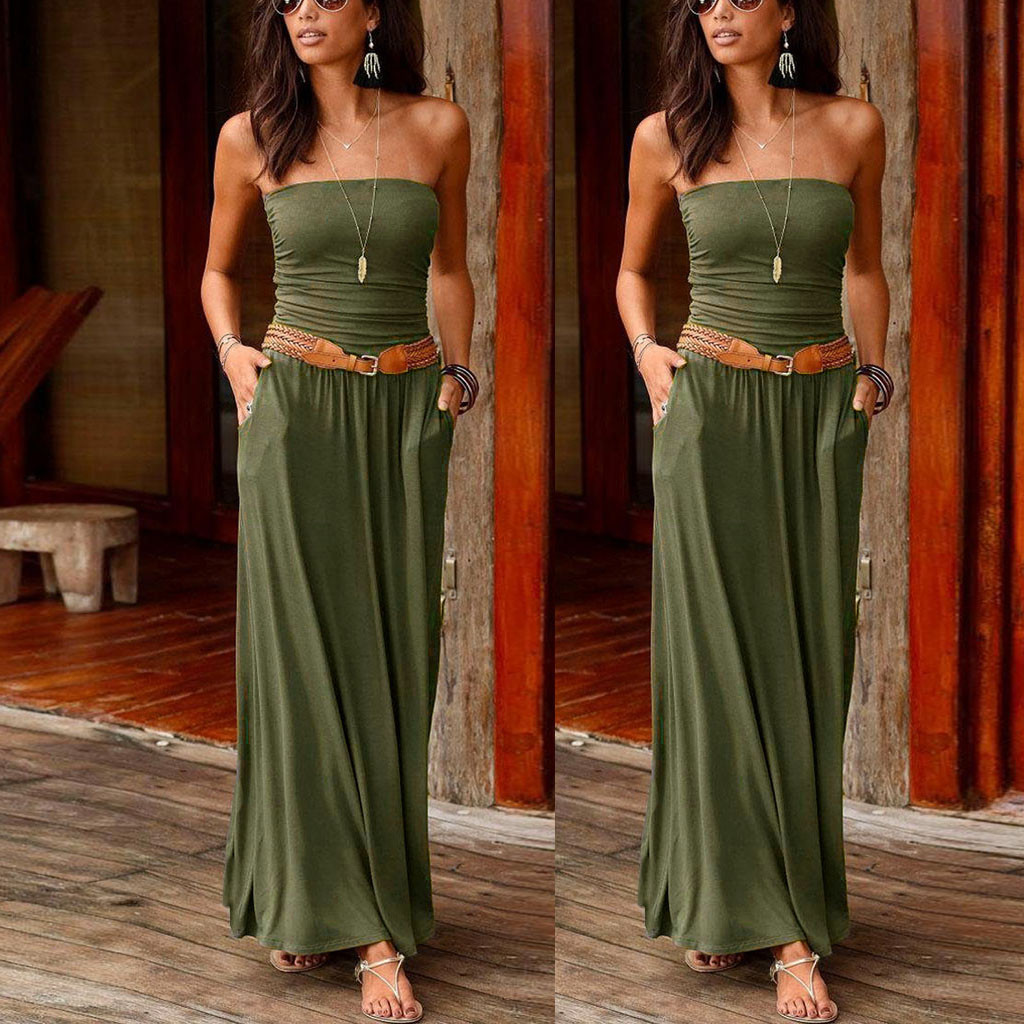Tube Top Dress Womens Bandeau Holiday Off Shoulder Long Dress Ladies Summer Solid Maxi Dress Sexy Satin Dress With One Shoulder