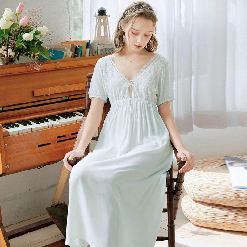 Wasteheart <font><b>Women</b></font> Homewear <font><b>Pink</b></font> <font><b>Blue</b></font> <font><b>Sexy</b></font> Sleepwear Night <font><b>Dress</b></font> Lace Backless Nightwear Luxury Nightgown Female Gown Plus Size image
