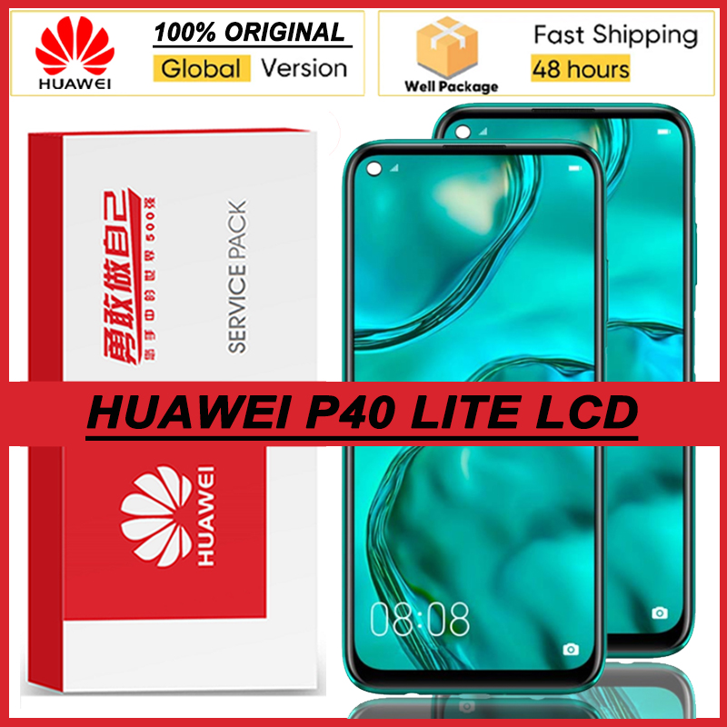 100% Оригинальный 6,4 ''IPS дисплей с рамкой для Huawei P40 Lite Nova 6 se, ЖК-дисплей с сенсорным экраном и дигитайзером в сборе, запасные части